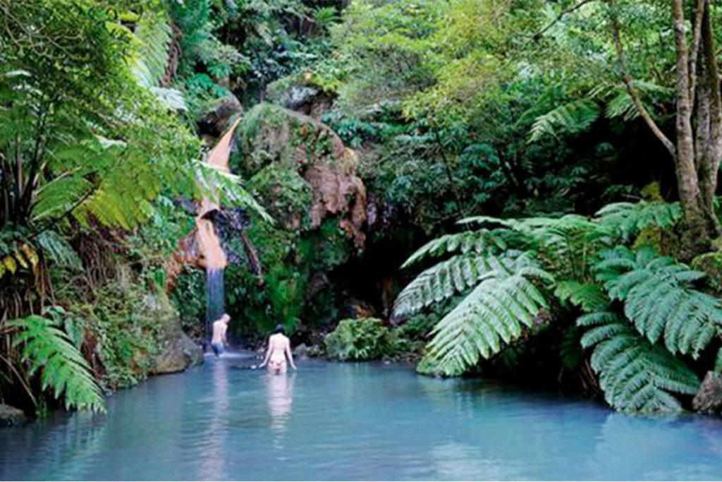La cascada de Caldeira Velha es de agua caliente ferruginosa (visitazores.com)